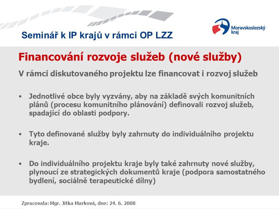 Financování rozvoje služeb (nové služby)