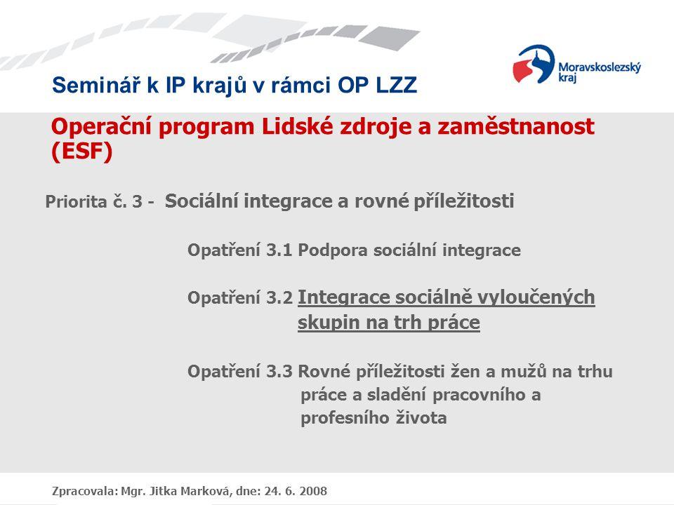 Operační program Lidské zdroje a zaměstnanost (ESF)