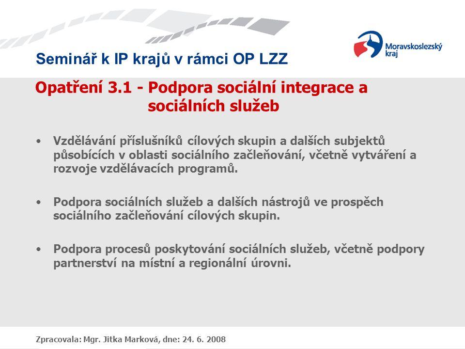 Opatření 3.1 - Podpora sociální integrace a sociálních služeb