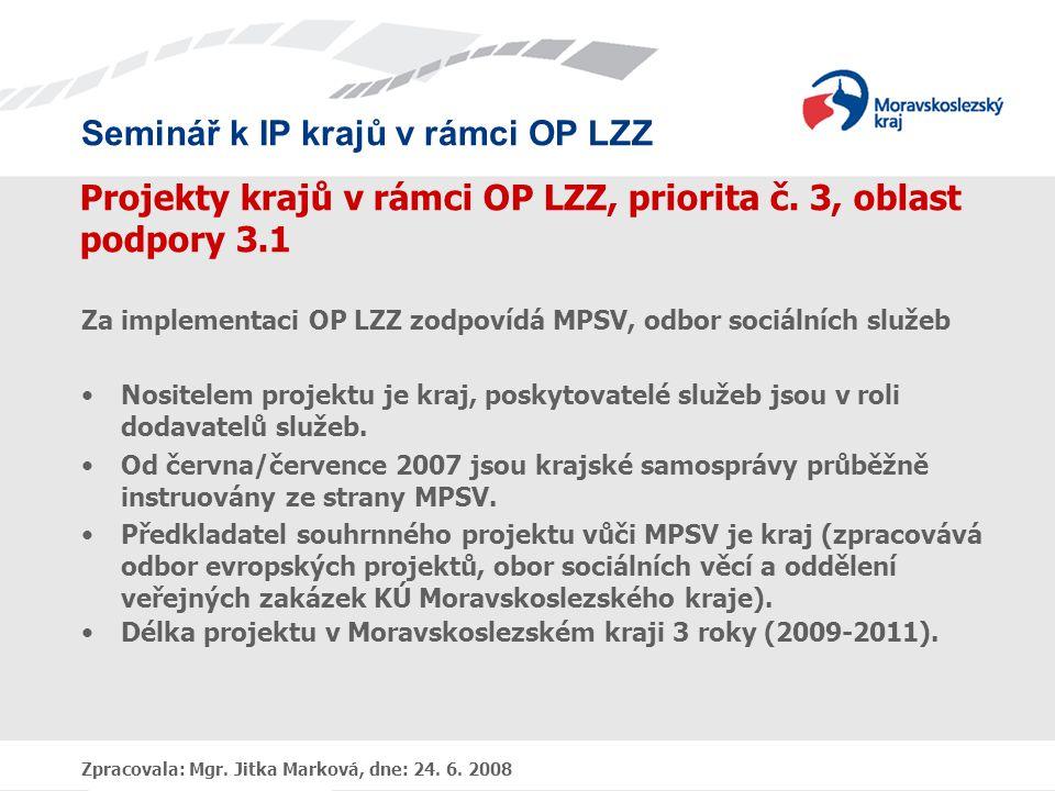Projekty krajů v rámci OP LZZ, priorita č. 3, oblast podpory 3.1