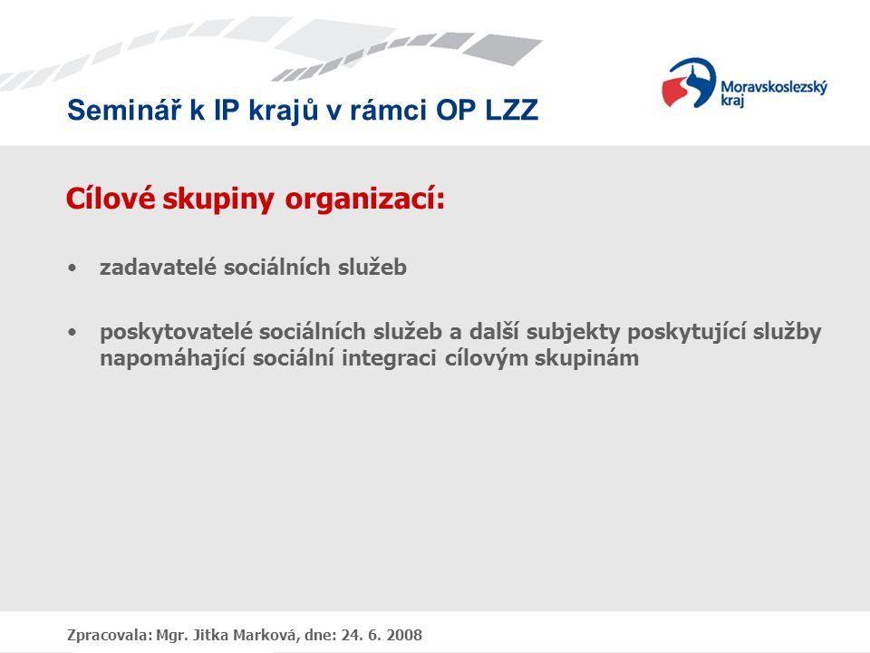 Cílové skupiny organizací:
