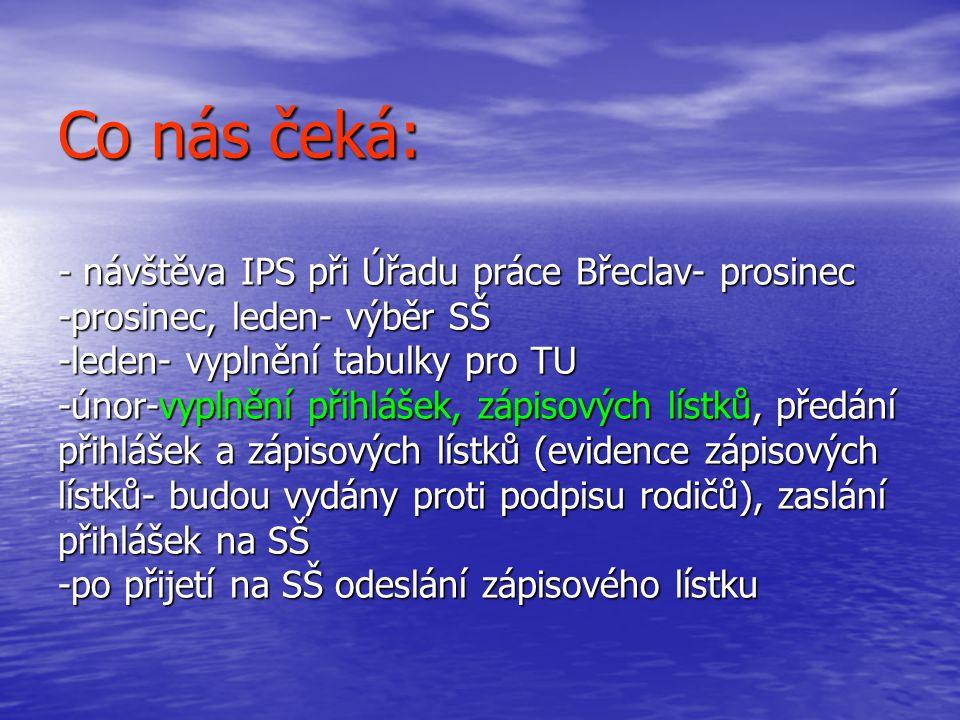 Co nás čeká: - návštěva IPS při Úřadu práce Břeclav- prosinec -prosinec, leden- výběr SŠ -leden- vyplnění tabulky pro TU -únor-vyplnění přihlášek, zápisových lístků, předání přihlášek a zápisových lístků (evidence zápisových lístků- budou vydány proti podpisu rodičů), zaslání přihlášek na SŠ -po přijetí na SŠ odeslání zápisového lístku