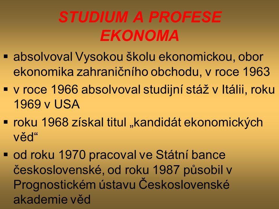 STUDIUM A PROFESE EKONOMA