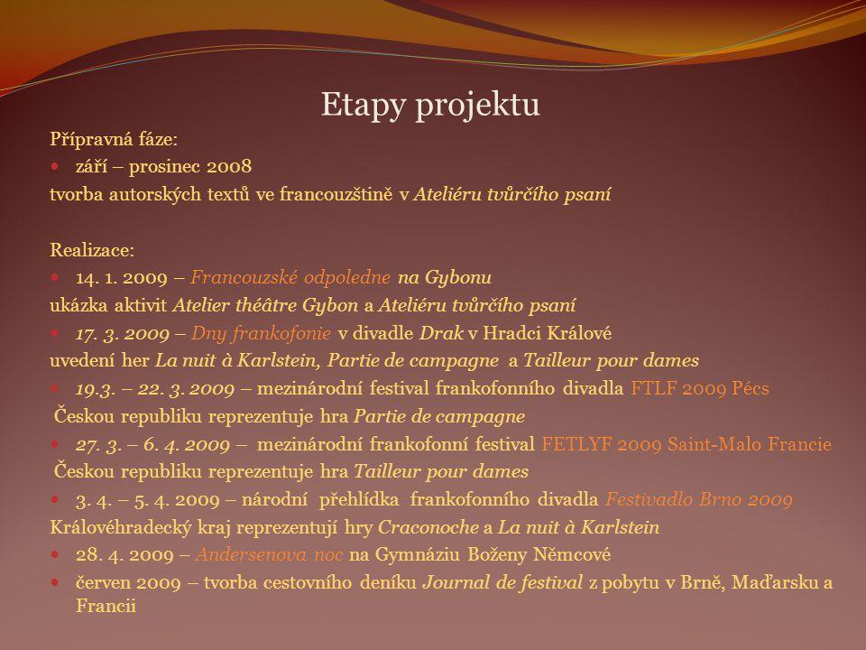Etapy projektu Přípravná fáze: září – prosinec 2008