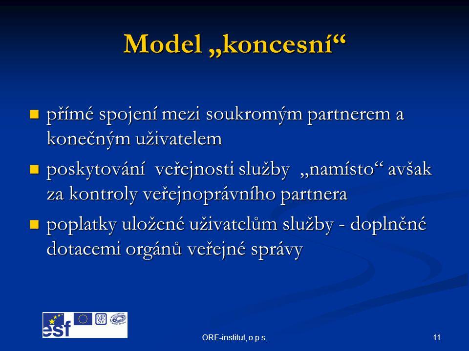 """Model """"koncesní přímé spojení mezi soukromým partnerem a konečným uživatelem."""