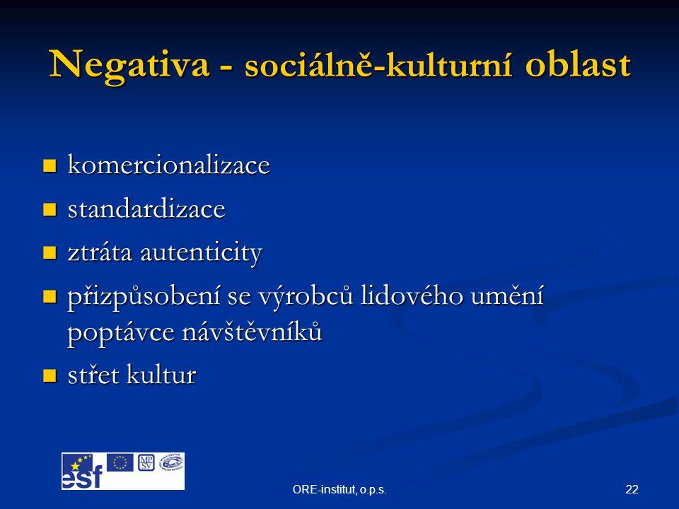 Negativa - sociálně-kulturní oblast