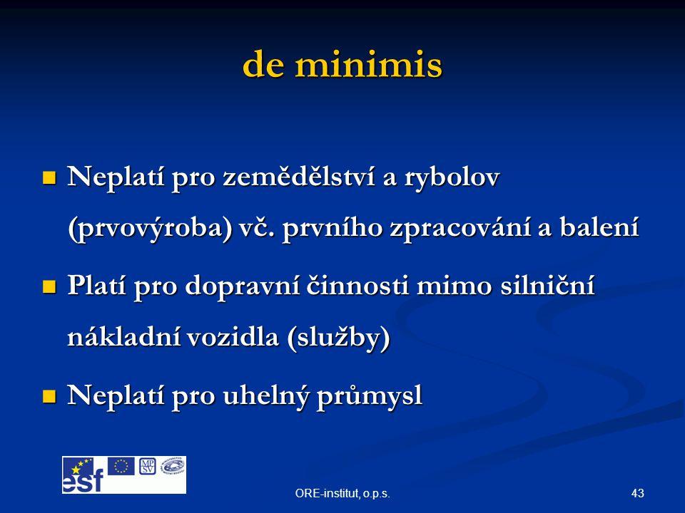 de minimis Neplatí pro zemědělství a rybolov (prvovýroba) vč. prvního zpracování a balení.