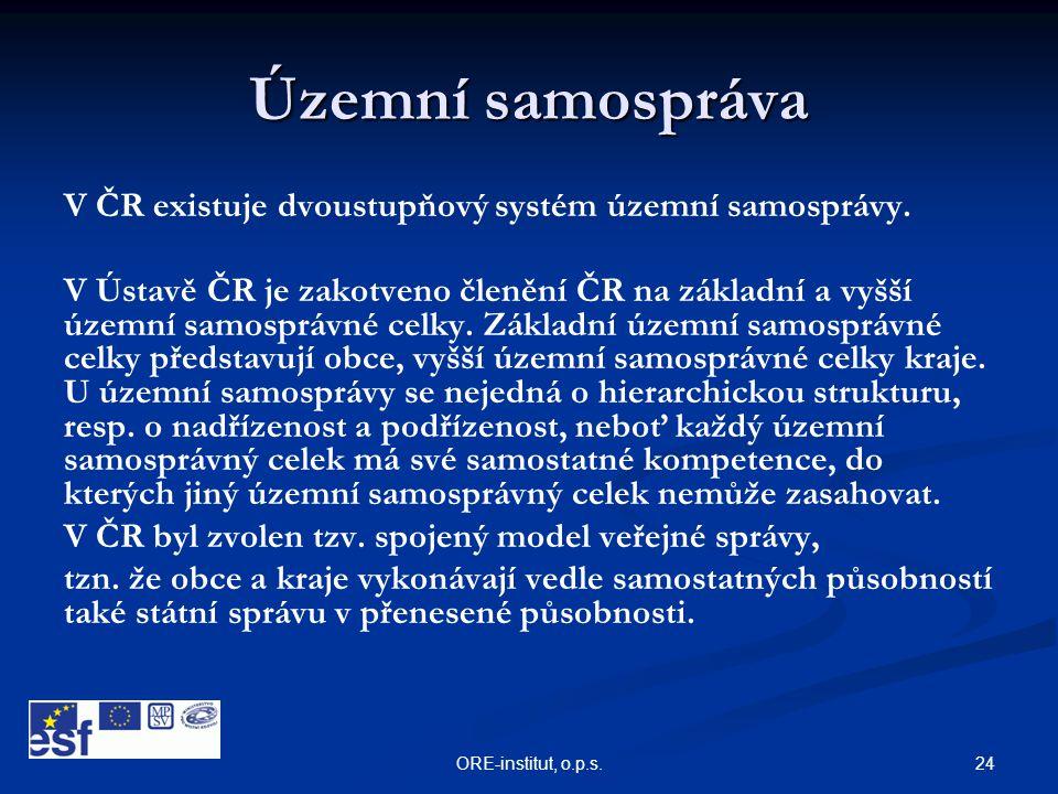 Územní samospráva V ČR existuje dvoustupňový systém územní samosprávy.