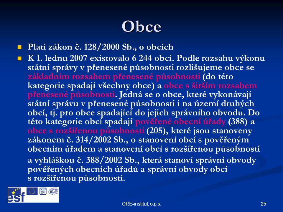 Obce Platí zákon č. 128/2000 Sb., o obcích
