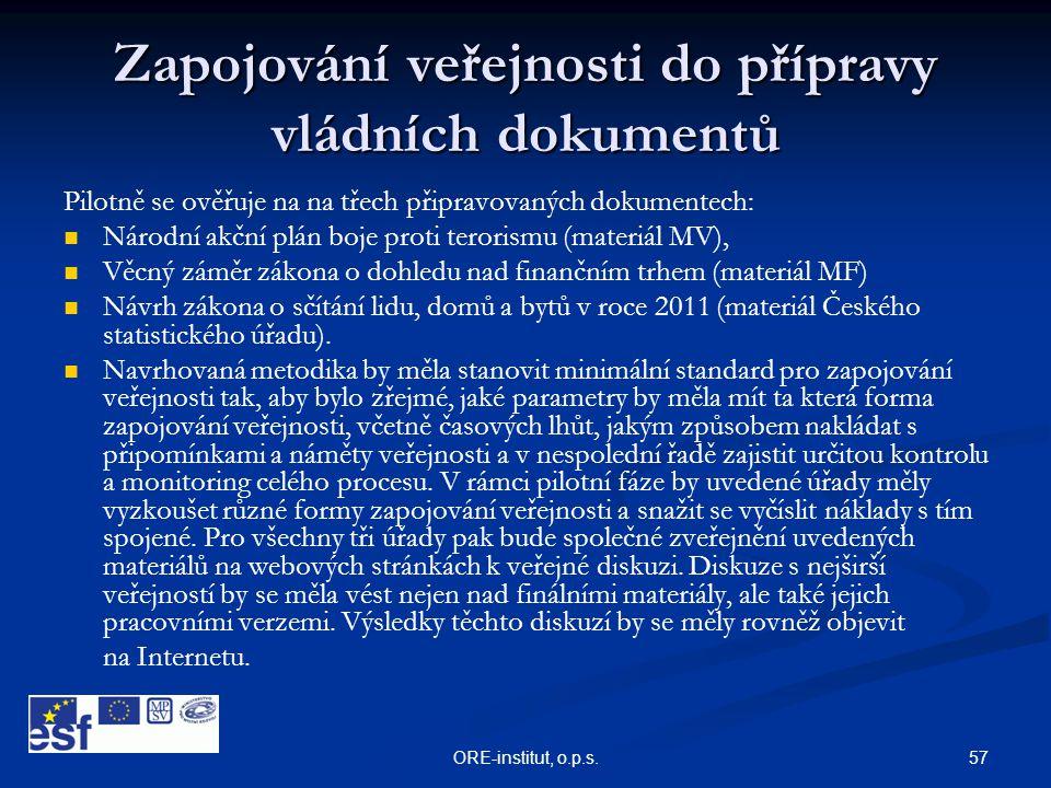 Zapojování veřejnosti do přípravy vládních dokumentů
