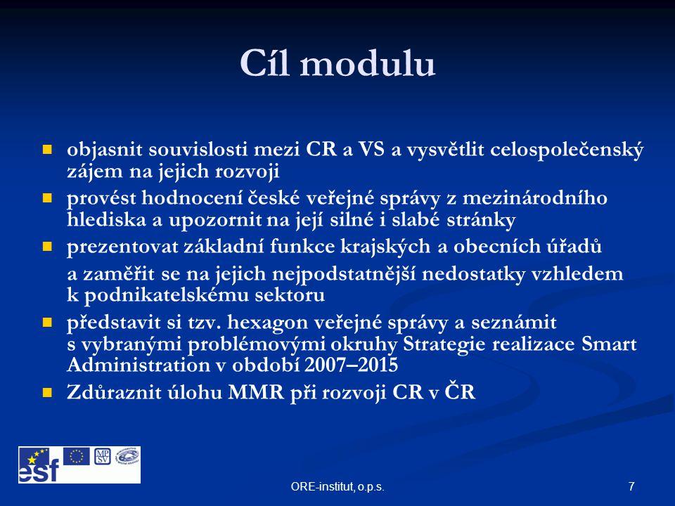 Cíl modulu objasnit souvislosti mezi CR a VS a vysvětlit celospolečenský zájem na jejich rozvoji.