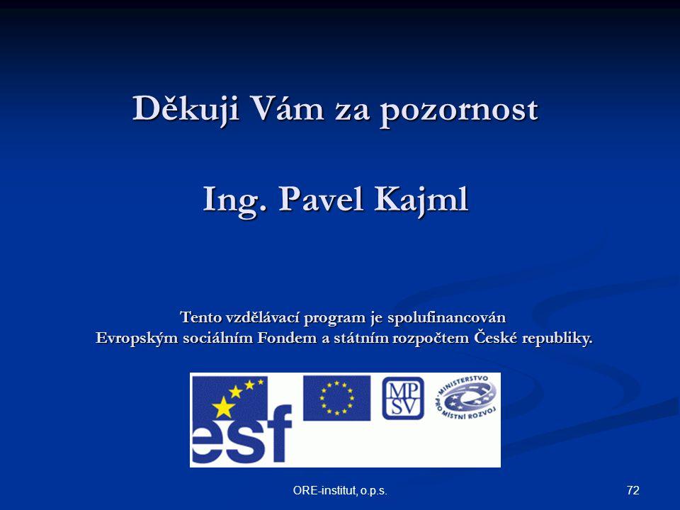 Děkuji Vám za pozornost Ing. Pavel Kajml