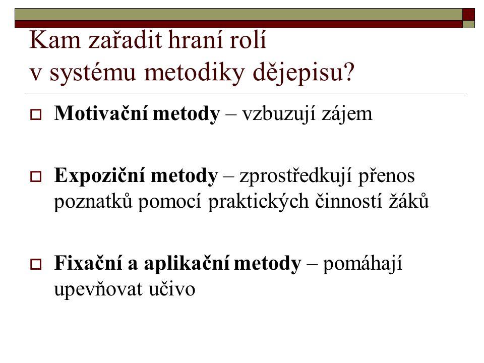Kam zařadit hraní rolí v systému metodiky dějepisu