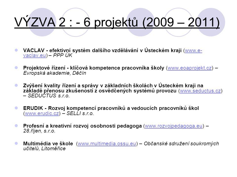 VÝZVA 2 : - 6 projektů (2009 – 2011) VACLAV - efektivní systém dalšího vzdělávání v Ústeckém kraji (www.e-vaclav.eu) – PPP ÚK.