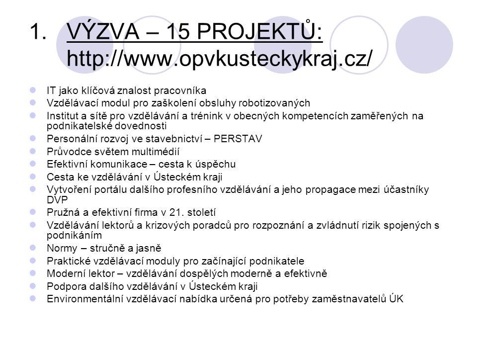 VÝZVA – 15 PROJEKTŮ: http://www.opvkusteckykraj.cz/