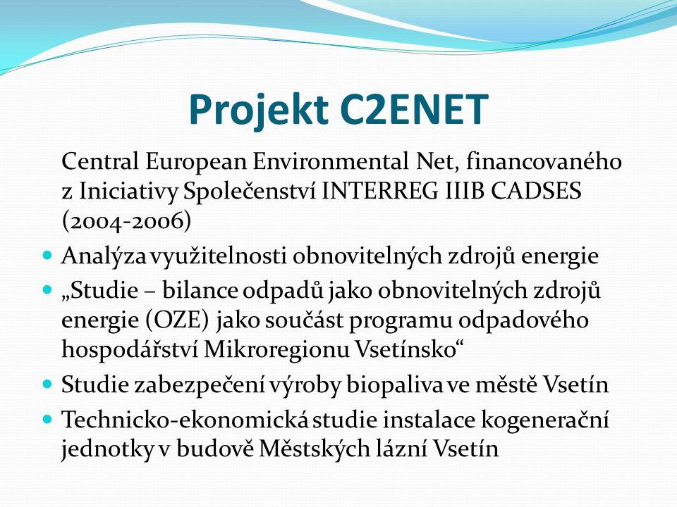 Projekt C2ENET Central European Environmental Net, financovaného z Iniciativy Společenství INTERREG IIIB CADSES (2004-2006)