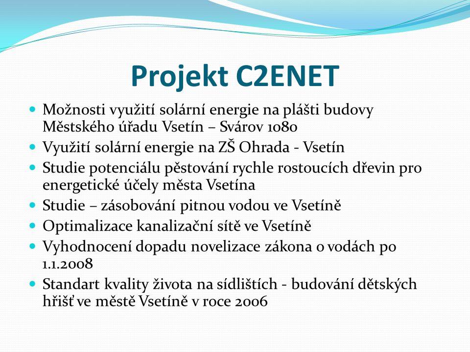 Projekt C2ENET Možnosti využití solární energie na plášti budovy Městského úřadu Vsetín – Svárov 1080.
