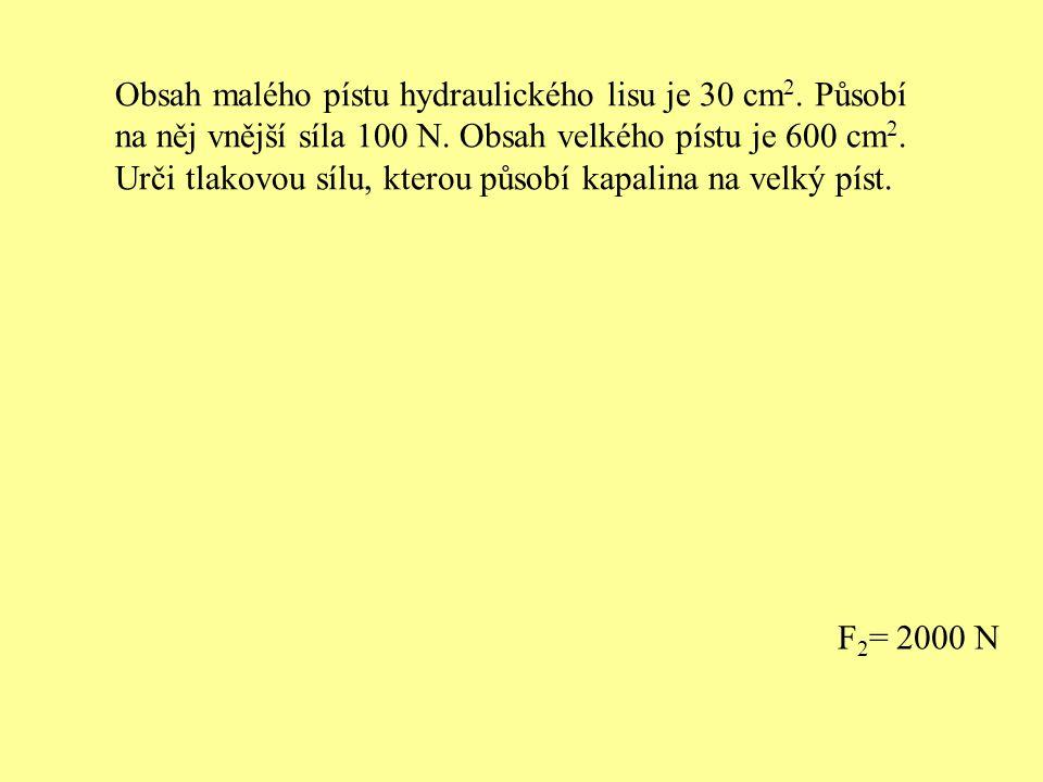 Obsah malého pístu hydraulického lisu je 30 cm2