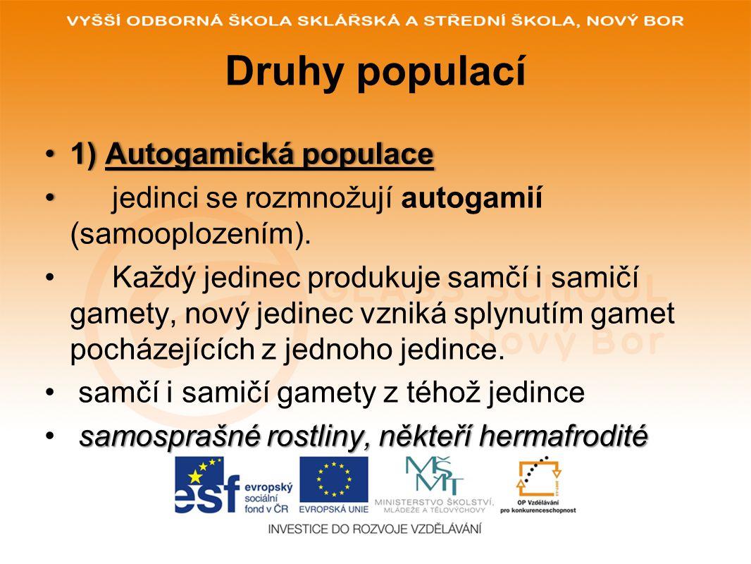 Druhy populací 1) Autogamická populace