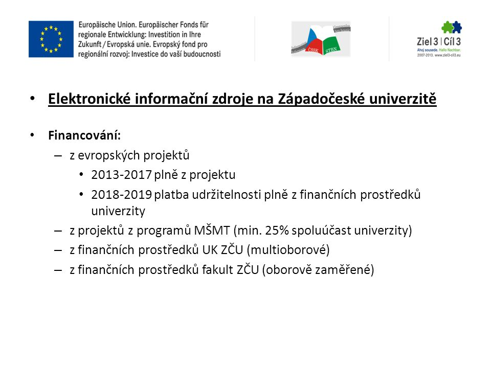 Elektronické informační zdroje na Západočeské univerzitě