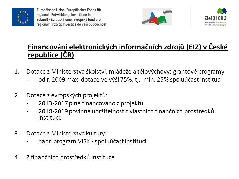 Financování elektronických informačních zdrojů (EIZ) v České republice (ČR)