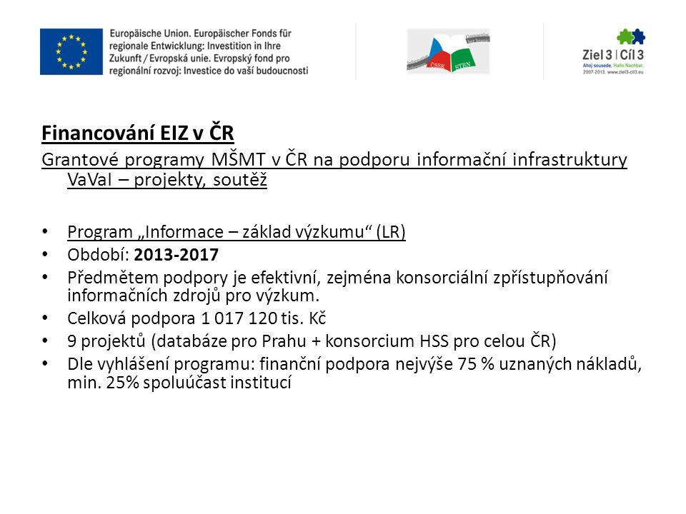 Financování EIZ v ČR Grantové programy MŠMT v ČR na podporu informační infrastruktury VaVaI – projekty, soutěž.