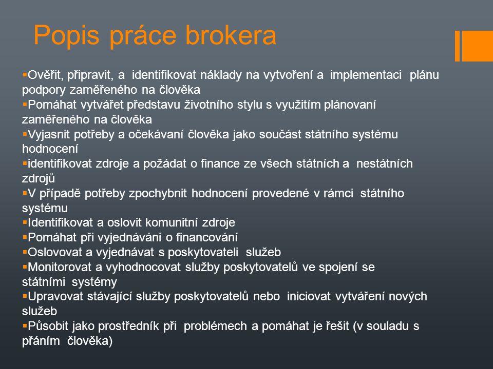Popis práce brokera Ověřit, připravit, a identifikovat náklady na vytvoření a implementaci plánu podpory zaměřeného na člověka.