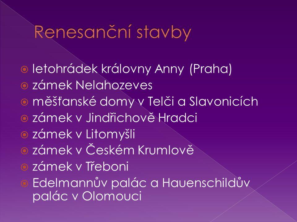 Renesanční stavby letohrádek královny Anny (Praha) zámek Nelahozeves