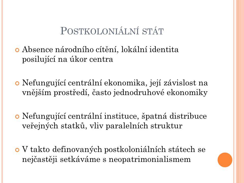 Postkoloniální stát Absence národního cítění, lokální identita posilující na úkor centra.