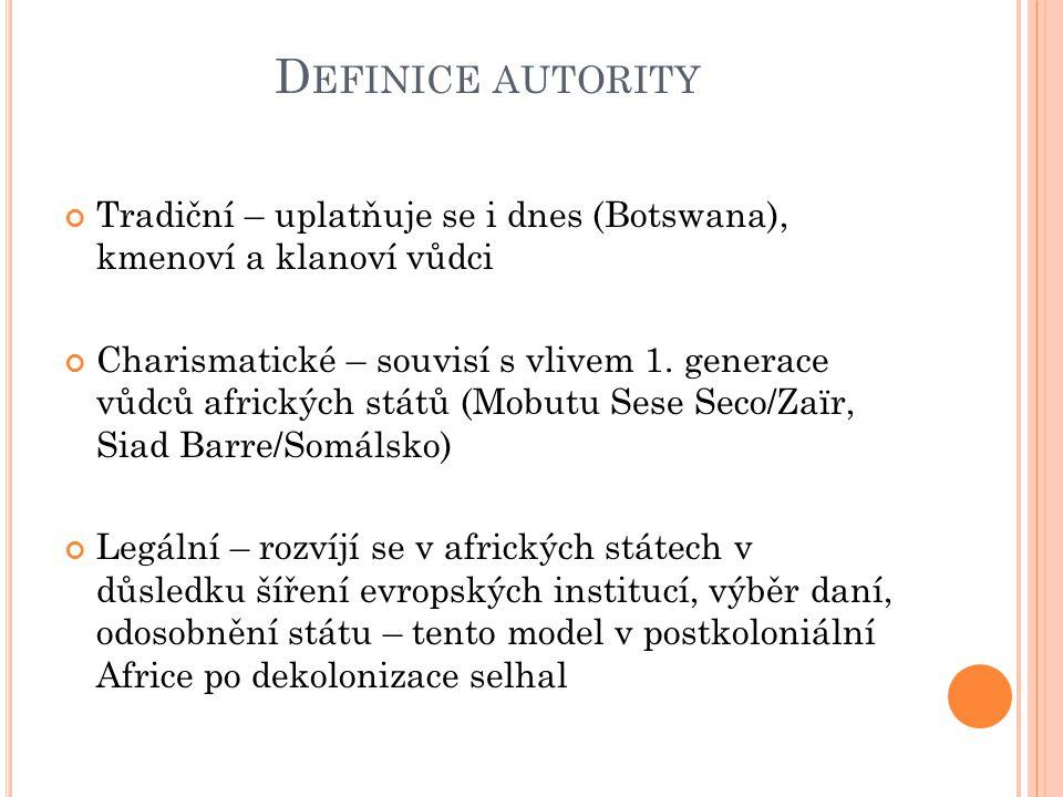 Definice autority Tradiční – uplatňuje se i dnes (Botswana), kmenoví a klanoví vůdci.