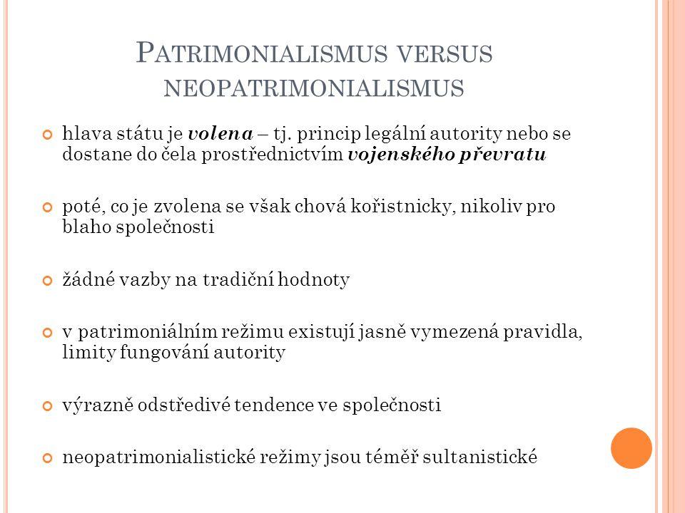 Patrimonialismus versus neopatrimonialismus