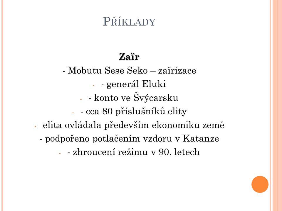 Příklady Zaïr - Mobutu Sese Seko – zaïrizace - generál Eluki