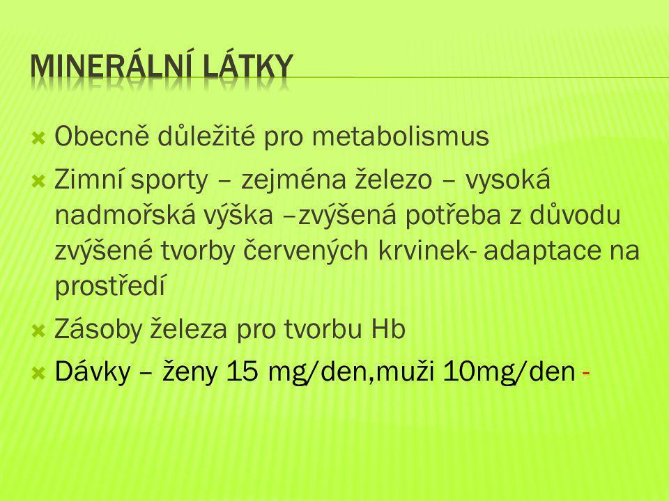 Minerální látky Obecně důležité pro metabolismus