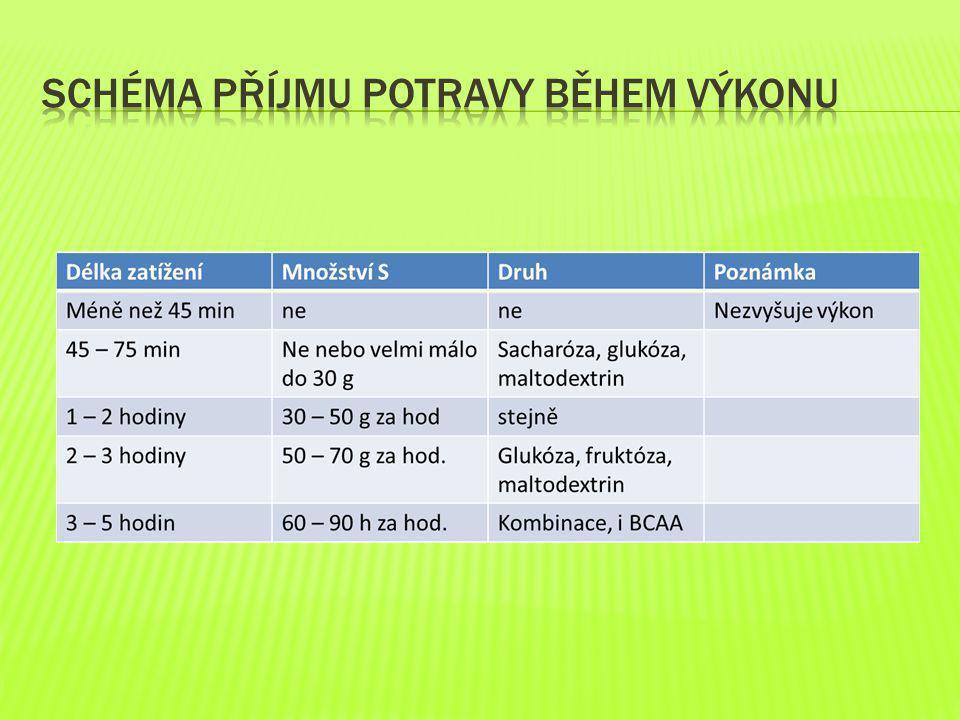 Schéma příjmu potravy během výkonu