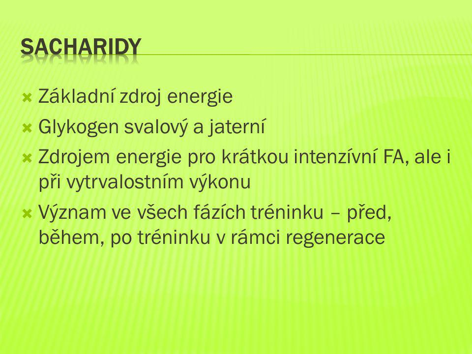 Sacharidy Základní zdroj energie Glykogen svalový a jaterní