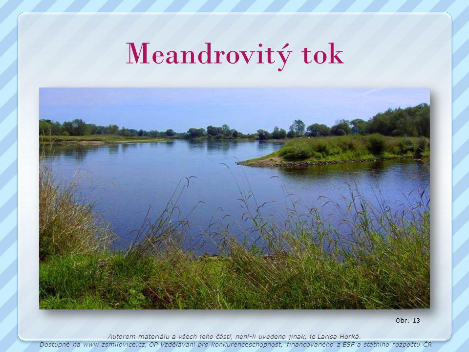Meandrovitý tok Obr. 13. Autorem materiálu a všech jeho částí, není-li uvedeno jinak, je Larisa Horká.