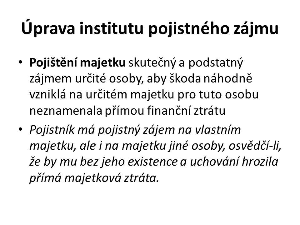 Úprava institutu pojistného zájmu