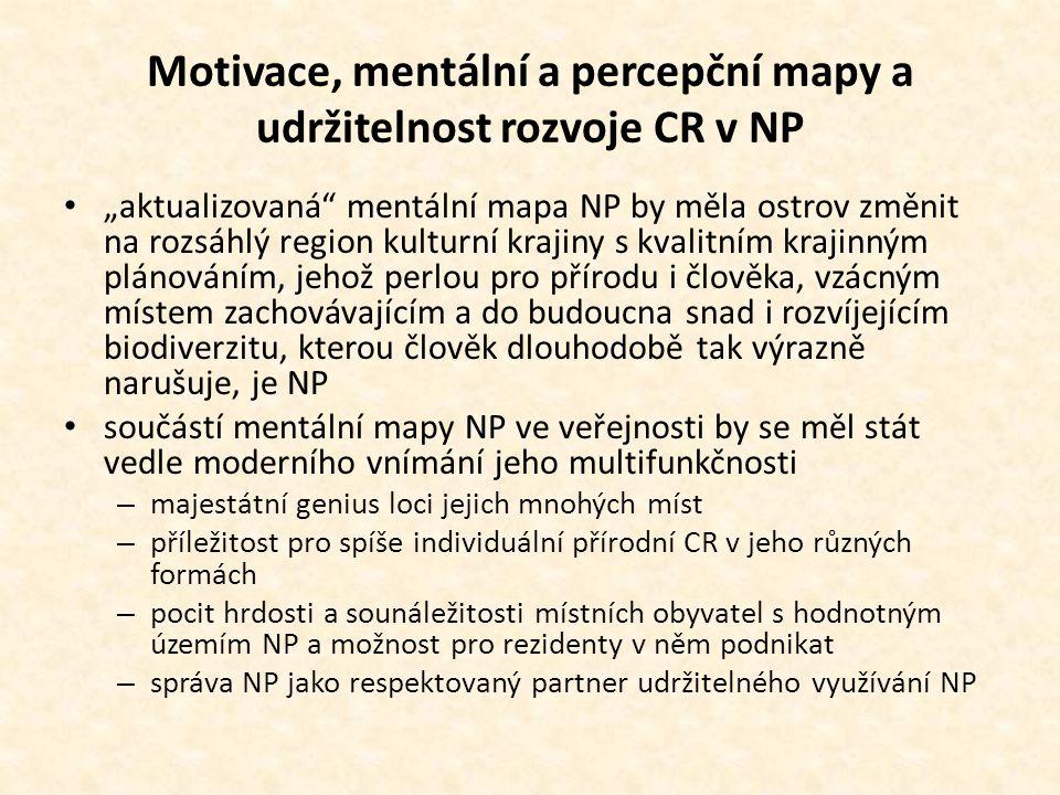 Motivace, mentální a percepční mapy a udržitelnost rozvoje CR v NP