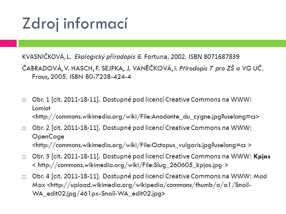 Zdroj informací KVASNIČKOVÁ, L. Ekologický přírodopis 6. Fortuna, 2002. ISBN 8071687839.