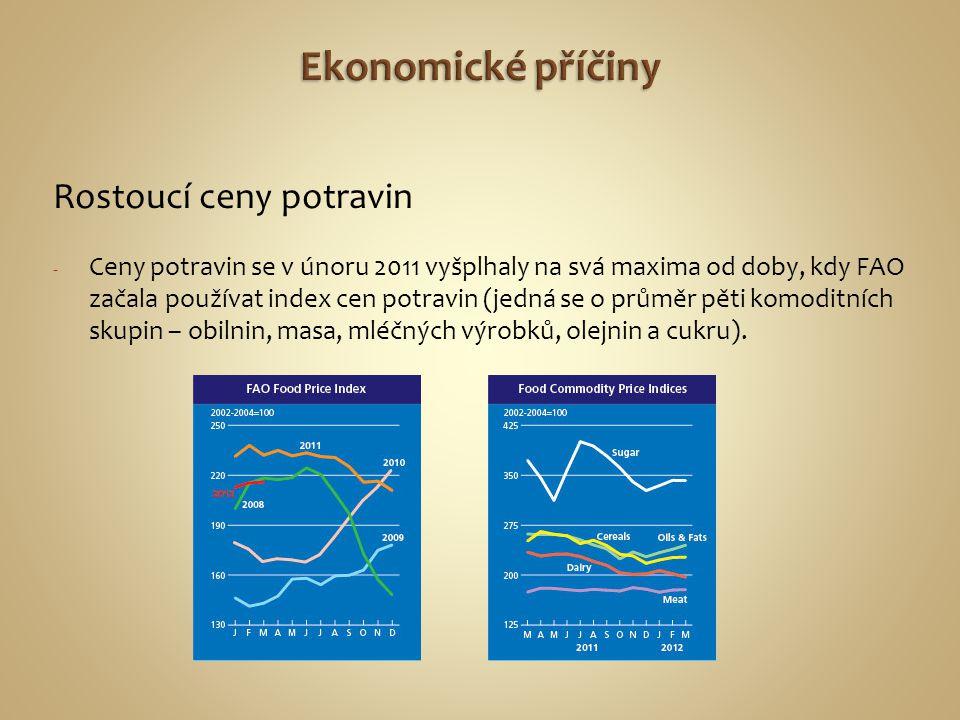 Ekonomické příčiny Rostoucí ceny potravin