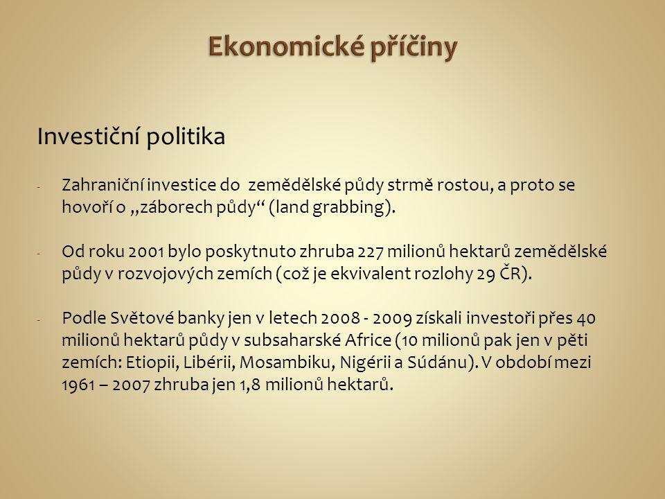 Ekonomické příčiny Investiční politika