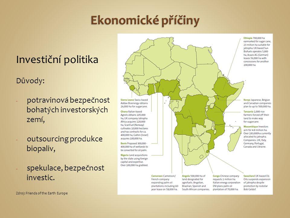 Ekonomické příčiny Investiční politika Důvody: potravinová bezpečnost