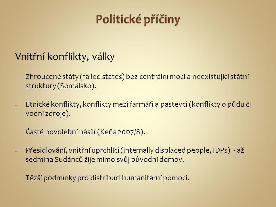 Politické příčiny Vnitřní konflikty, války