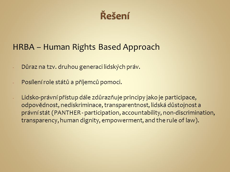 Řešení HRBA – Human Rights Based Approach