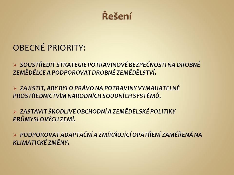 Řešení OBECNÉ PRIORITY:
