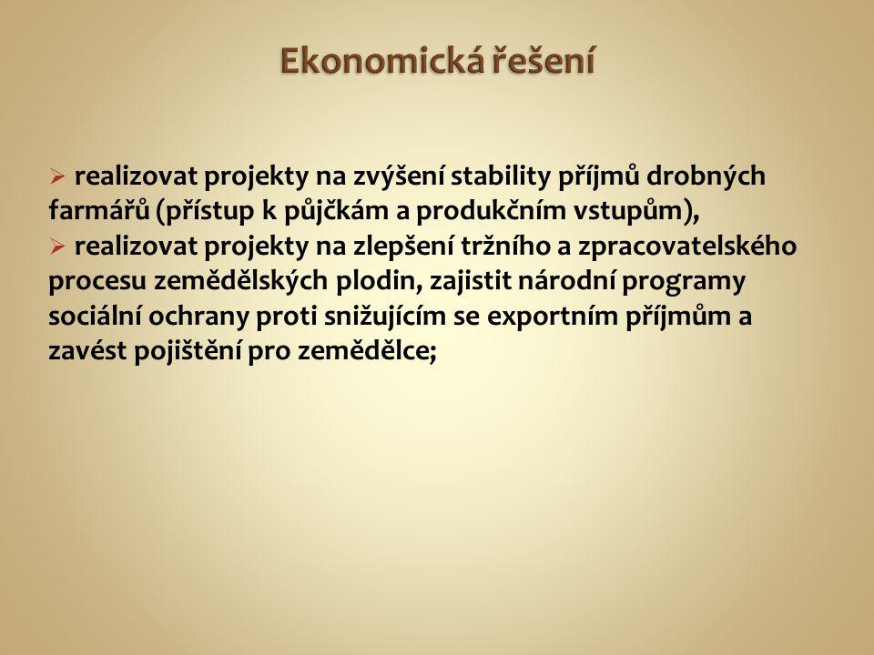 Ekonomická řešení realizovat projekty na zvýšení stability příjmů drobných farmářů (přístup k půjčkám a produkčním vstupům),