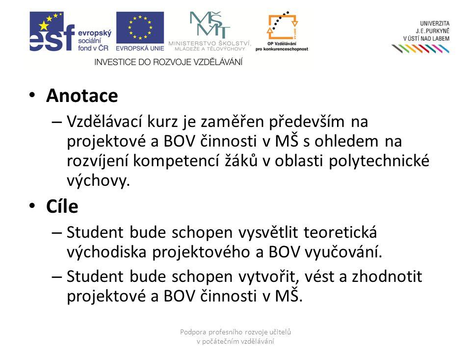 Podpora profesního rozvoje učitelů v počátečním vzdělávání