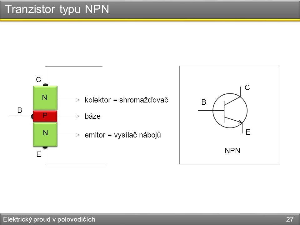 Tranzistor typu NPN C C N kolektor = shromažďovač B B P báze N E