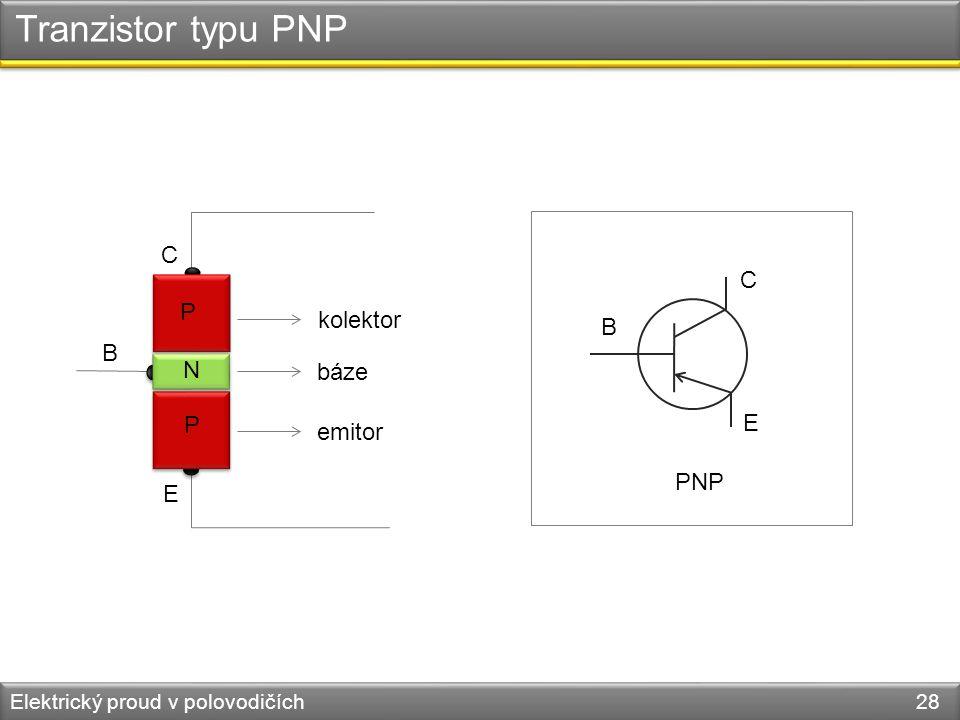 Tranzistor typu PNP C C P kolektor B B N báze P E emitor PNP E