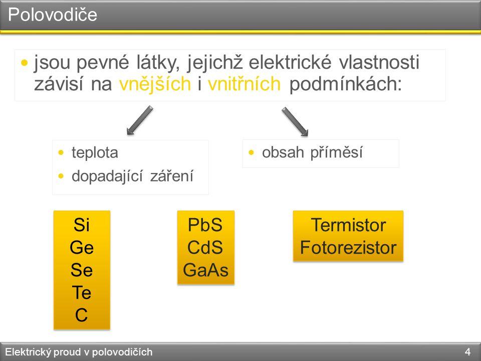 Polovodiče jsou pevné látky, jejichž elektrické vlastnosti závisí na vnějších i vnitřních podmínkách: